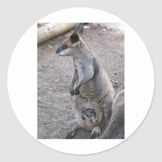Mommy Kangaroo Round Sticker