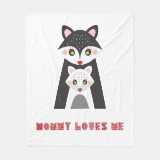 Mommy Loves Me Cute Mother Fox and Baby Fleece Blanket
