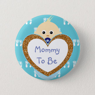 Mommy to be Baby Shower Button Blue Footprints