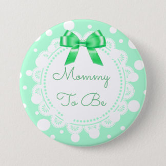 Mommy to Be Baby Shower Button Green Bow Glitter