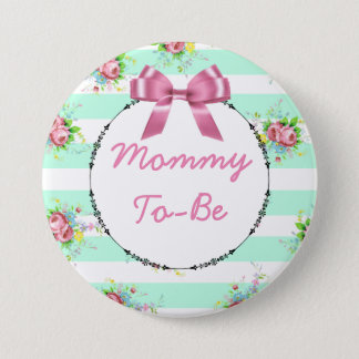 Mommy to Be Baby Shower Button Mint Green & Pink