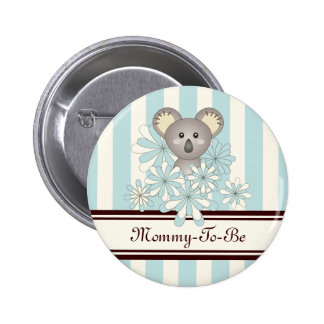 Mommy-to-be Baby Shower Cute Animal Paste Blue 6 Cm Round Badge