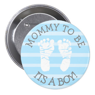 Mommy to be Blue and Gray Baby Shower Button