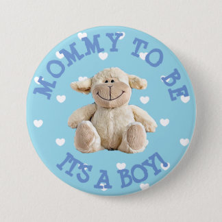 Mommy to be blue Lamb hearts Baby Shower Button