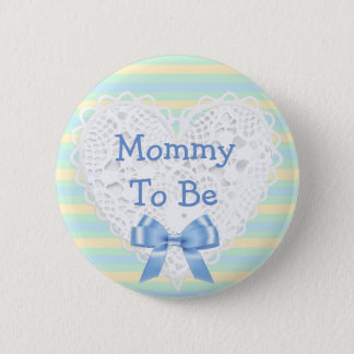 Mommy to be Blue & Orange Baby Shower Button