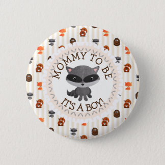 Mommy To Be Button Woodland Aninmal Theme