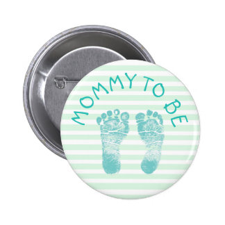 Mommy to be Green Footprints  baby shower button