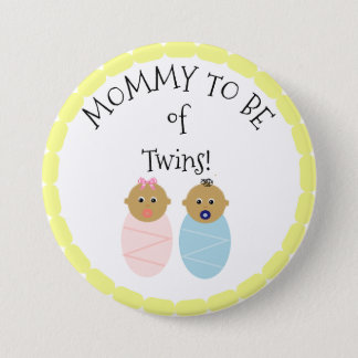 Mommy to be of Twins boy girl  Baby Shower button