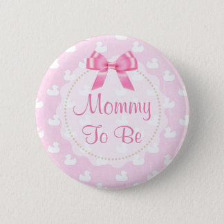 Mommy to be Pink Bow and  Rubber Ducklings Button