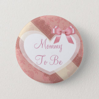 Mommy to be Pink Coral Peach Baby Shower Button