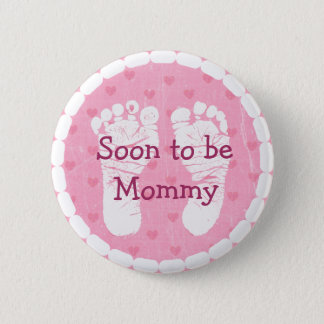 Mommy to be Pink Footprints  Baby Shower Button