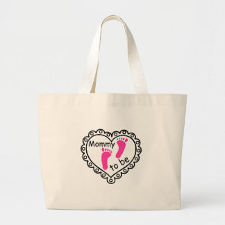 Mommy To Be Pink Girl Footprints Heart Large Tote Bag