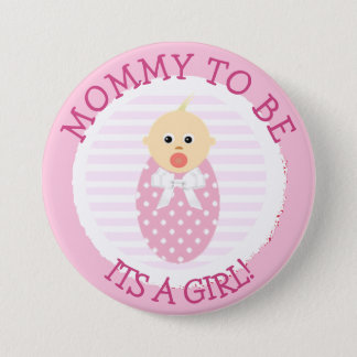 Mommy to be, Pink Newborn Baby Shower Button