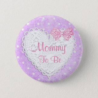 Mommy to be Pink & Purple Dots Baby Shower Button