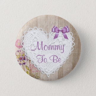 Mommy to be Purple Rustic Wood Baby Shower Button