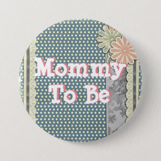 "Mommy to be ""shabby chic"" baby shower Button"