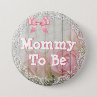 """Mommy to be """"shabby chic"""" pink baby shower Button"""