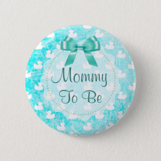 Mommy to be Teal Bow and baby Ducks Button