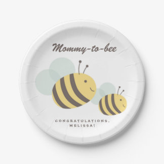 Mommy to Bee Bumblebee Baby Shower Party Paper Plate