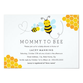 Mommy To Bee Chevron Baby Shower Invitation