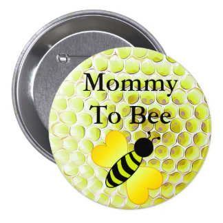 Mommy to Bee Honey Bee Yellow Baby shower Button