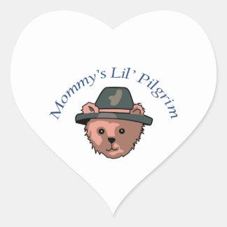 Mommy's Lil' Pilgrim Heart Sticker