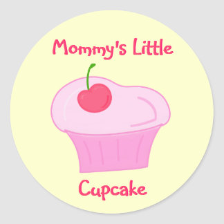 Mommy's Little Cupcake -Cute Pink Cake with Cherry Round Sticker