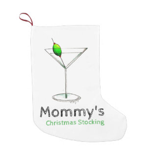 Mommy's Martini Glass Cocktail Christmas Stocking