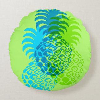 Momona Pineapple Hawaiian Tropical Reversible Round Cushion