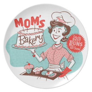 Mom's Bakery Retro Plate