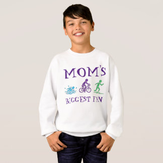 Moms Biggest Fan Ironwoman Triathlon Swim Bike Run Sweatshirt
