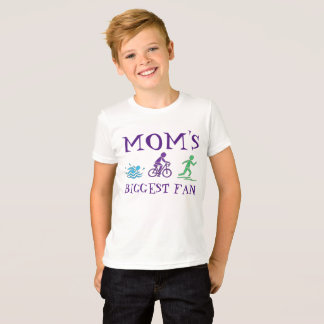 Mom's Biggest Fan Triathlon Swim Bike Run Athlete T-Shirt