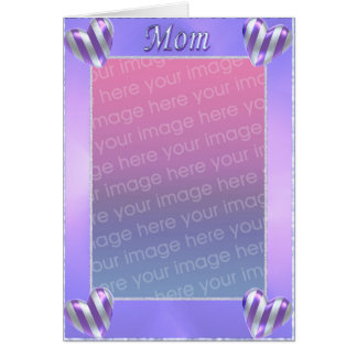 Mom's Day Striped Hearts (photo frame) Greeting Card
