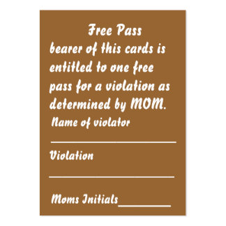 Mom's Free Pass Card View About Design Business Card Templates