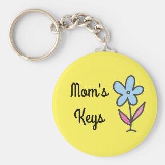 Mom's Keys with Flower Basic Round Button Key Ring