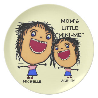 Moms Little Mini Me Cartoon Plate