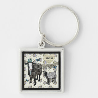 Mom's Love Junebug & Fainting Goat Baby Silver-Colored Square Key Ring