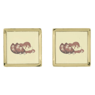 Mom's Meatloaf Mashed Potatoes Gravy Food Foodie Gold Finish Cuff Links