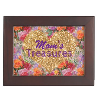 Mom's Treasures Gold Heart Colorful Spring Flowers Keepsake Box