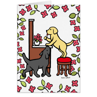 Mom's Yellow Lab and Black Lab Puppy Duo Cards