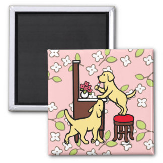 Mom's Yellow Lab Puppy Duo Refrigerator Magnets
