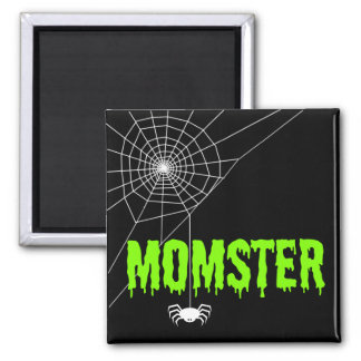 Momster Lime Green Dripping Font Spider Web Magnet