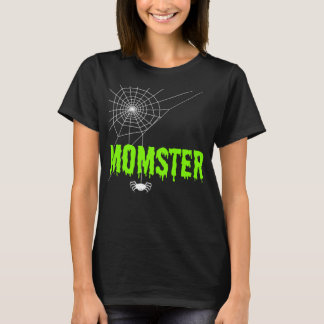 Momster Lime Green Dripping Font Spider Web T-Shirt
