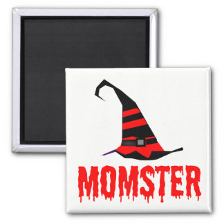Momster Red Dripping Font Witch Hat Magnet