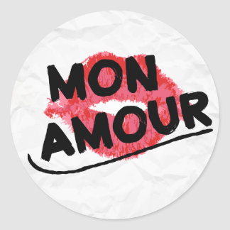 Mon Amour My Love Red Lipstick Kiss Distressed Round Sticker