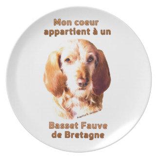 Mon Coeur Appartient A Un Basset Fauve de Bretagne Party Plate