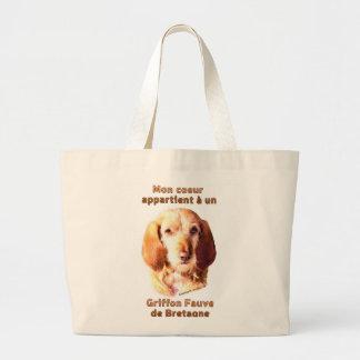 Mon Coeur Appartient A Un Griffon Fauve deBretagne Large Tote Bag