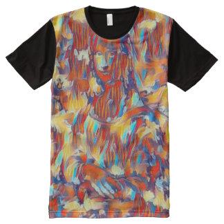 Mona Lisa Abstract Acrylic Portrait All-Over Print T-Shirt