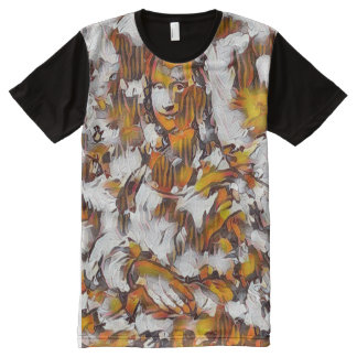 Mona Lisa Abstract Portrait All-Over Print T-Shirt