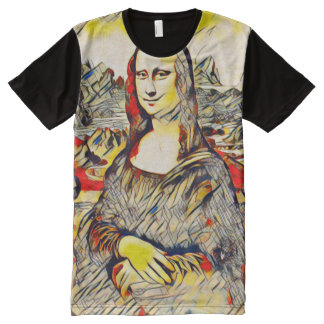 Mona Lisa Abstract Scroll Portrait All-Over Print T-Shirt